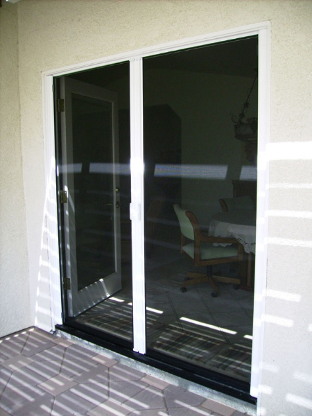 White French Roll-Away Retractable Screen Doors