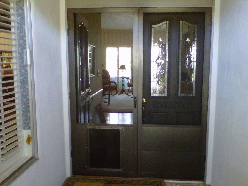 Bronze French Full View Swinging Screen Doors with dog door