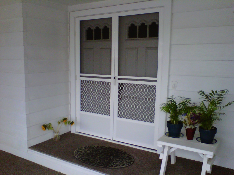 White French Monterey Swinging Screen Doors