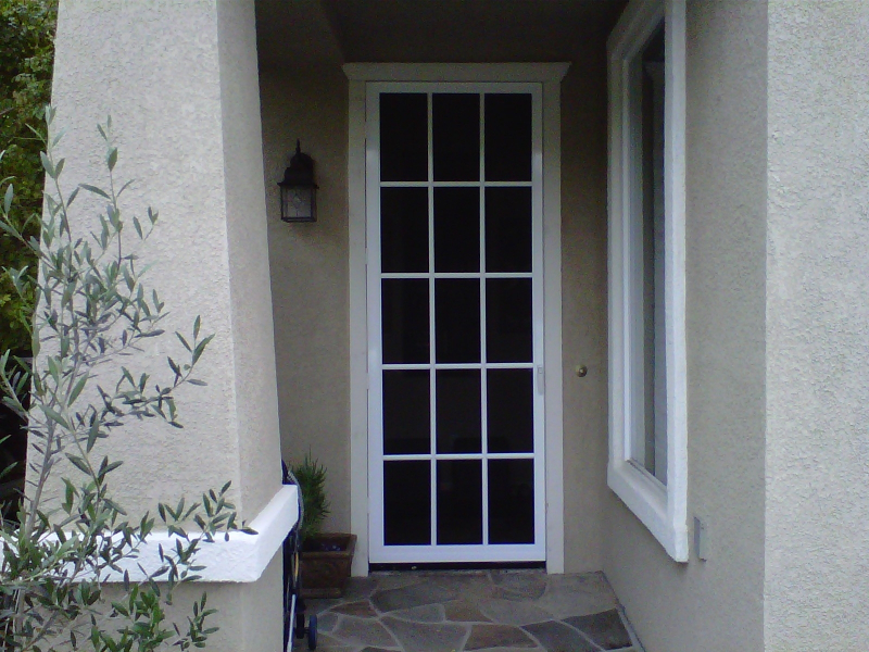 White Colonial Swinging Screen Door