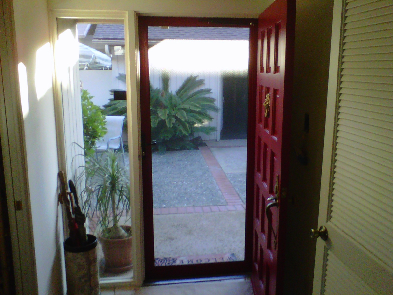 Ruby Red Tru-View Security Screen Door from the inside