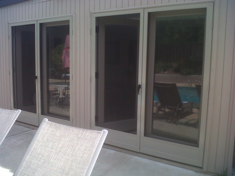 champagne_beige_french_full_view_swinging_screen_doors